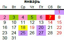 православный календарь на январь 2017 года