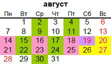 православный календарь на август 2017