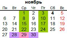 православный календарь на ноябрь 2017